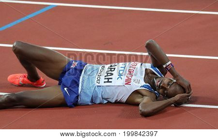 LONDON, ENGLAND - AUGUST 12 2017: Sir Mo Farah reacts after being beaten in the 5000m final during day nine of the 16th IAAF World Athletics Championships London 2017