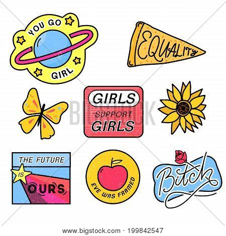 90s patches with feminism slogans. You go girl. The future is ours. Girls support girls. Eve was framed. Bitch sign with rose. 80s style pin design.