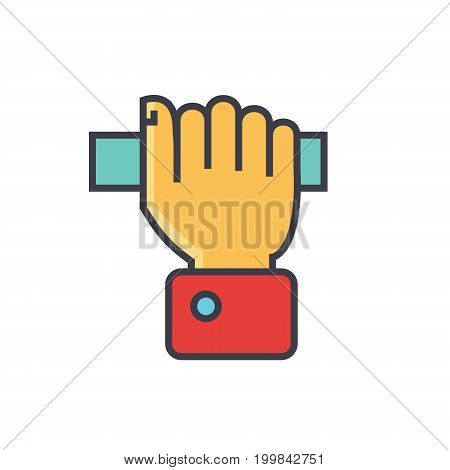 Hand pulling rope, taking anything concept. Line vector icon. Editable stroke. Flat linear illustration isolated on white background