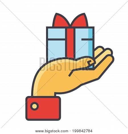 Hand with gift, charity concept. Line vector icon. Editable stroke. Flat linear illustration isolated on white background