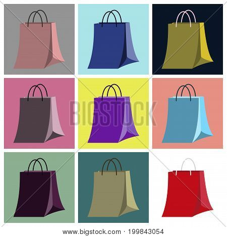 assembly of flat icons paper bag fashion