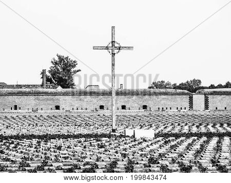 Memorial cemetery at Small fortress of Terezin, aka Theresienstadt, Czech Republic. Black and white image.