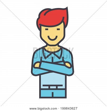 Young handsome man standing with folded arms concept. Line vector icon. Editable stroke. Flat linear illustration isolated on white background