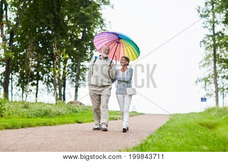 Couple of pensioners talking while going down country road under colorful umbrella