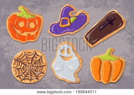 A set of gingerbread cookies on the theme of Halloween. Vector illustration.