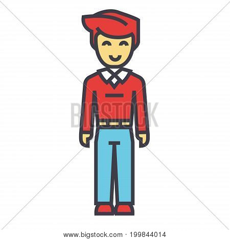 Young man, standing student, freelancer concept. Line vector icon. Editable stroke. Flat linear illustration isolated on white background
