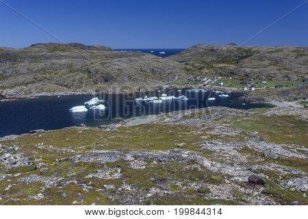 icebergs in small bay on Fogo Island, Newfoundland