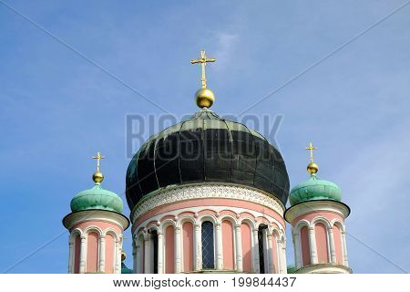 POTSDAM GERMANY - AUGUST 15 2017: Domes of the Russian Orthodox Church in Potsdam.