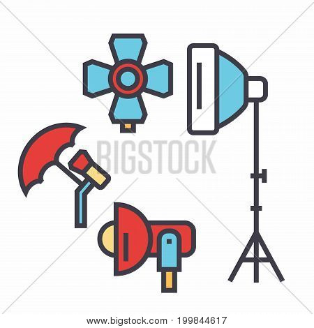 Photo light studio, lighting equipment, photographer concept. Line vector icon. Editable stroke. Flat linear illustration isolated on white background
