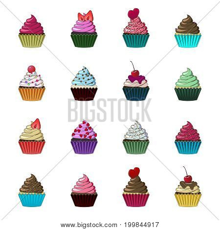 Vector cupcakes and muffins set. Multicolored cute cupcakes for flyers, postcards, stickers, prints, posters, decorations. Colorful desserts with cream, chocolate, cherries and strawberries.