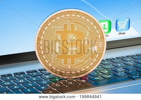 Bitcoin mining concept on laptop keyboard 3D rendering