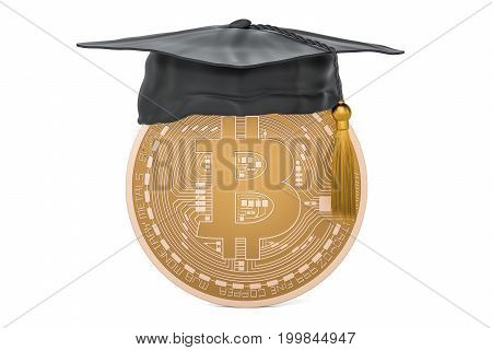 Bitcoin with graduation cap 3D rendering isolated on white background