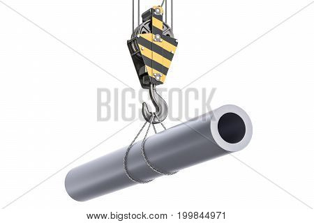 Crane hook with steel pipe 3D rendering isolated on white background