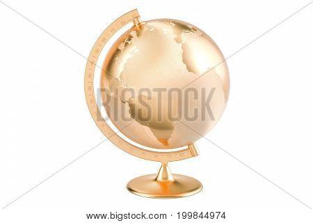 Golden globe 3D rendering isolated on white background