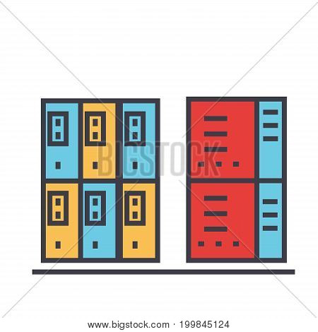 Servers concept. Line vector icon. Editable stroke. Flat linear illustration isolated on white background