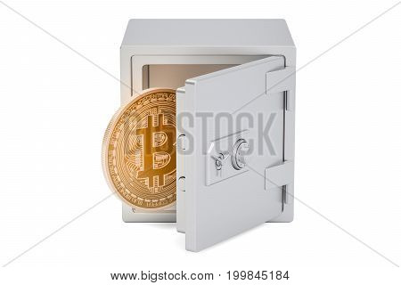 Safe box with bitcoin 3D rendering isolated on white background