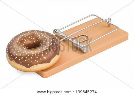 Sugar Addiction concept. Chocolate donut in mousetrap 3D rendering isolated on white background