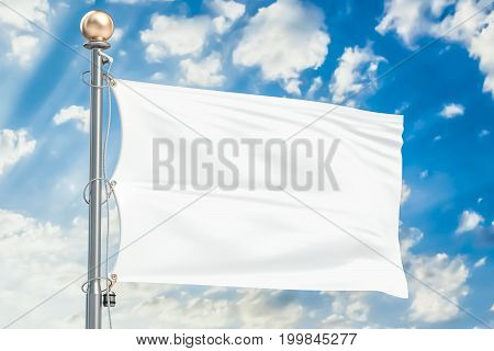 White flag waving in blue cloudy sky 3D rendering