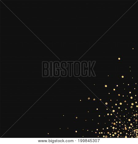 Gold Confetti. Messy Bottom Right Corner On Black Background. Vector Illustration.