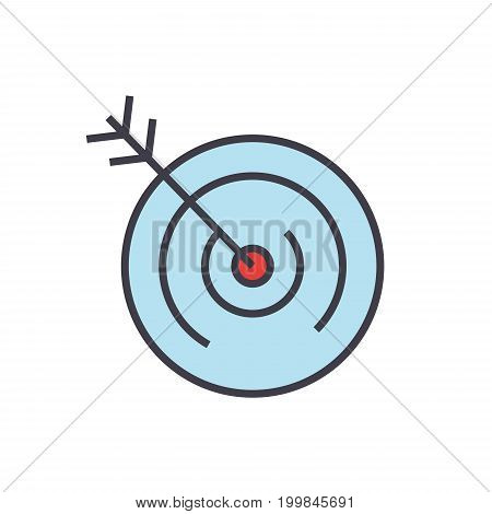 Target, goal, vision concept. Line vector icon. Editable stroke. Flat linear illustration isolated on white background