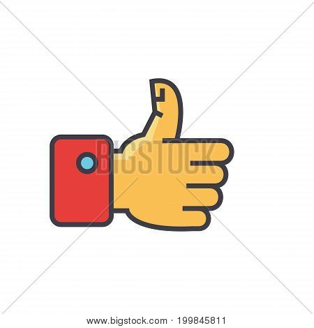 Thumbs up concept. Line vector icon. Editable stroke. Flat linear illustration isolated on white background
