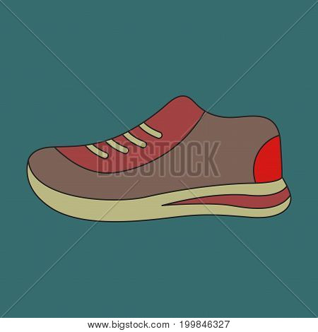 Icon in flat design sports shoes equipment