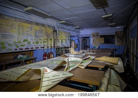Russia, Voronezh - CIRCA 2017: Training class room of Civil Defense in Abandoned underground Soviet bomb shelter under factory