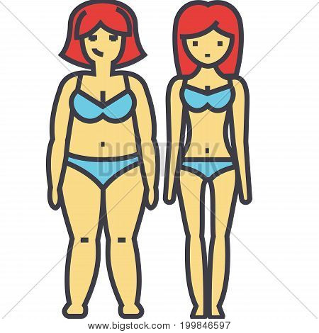 Fat and slim woman, before and after diet or fitness, female detox concept. Line vector icon. Editable stroke. Flat linear illustration isolated on white background
