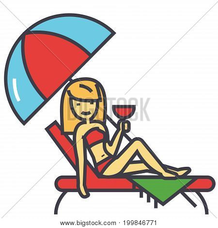 Woman relaxing on beach in sun bed and umbrella with cocktail, summer vacation, resort relax concept. Line vector icon. Editable stroke. Flat linear illustration isolated on white background