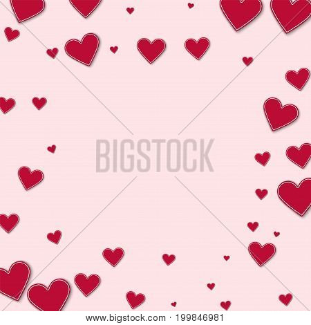 Cutout Red Paper Hearts. Square Scattered Frame On Light Pink Background. Vector Illustration.