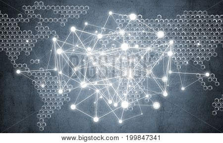 Background image with social connection and networking concept on concrete wall