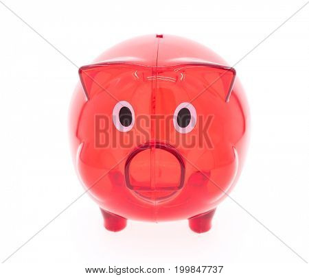 close up of piggy bank on white background