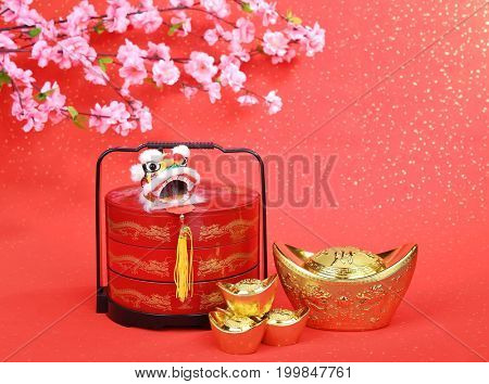 Traditional chinese lion with bonbonniere,calligraphy mean good bless