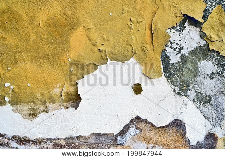 Stone wall near position yellow white color
