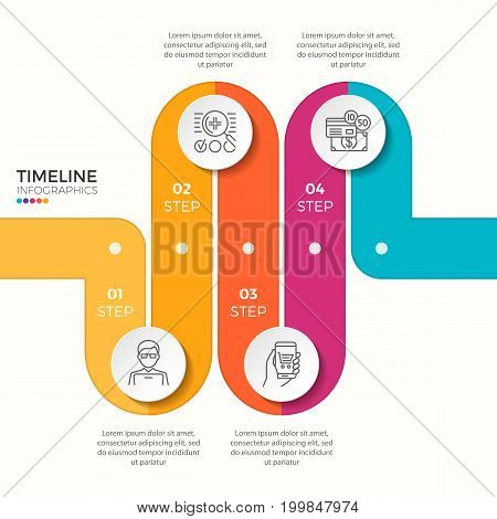 Vector 4 steps winding color timeline infographic template