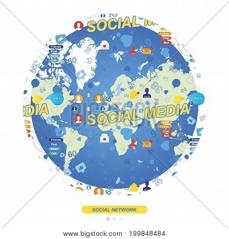 Seamless pattern with Icons of social networks and symbols of notifications on the background of the global world map. Flat vector illustration EPS 10.