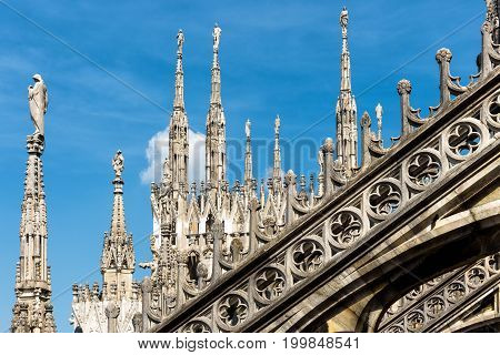 The roof of the Milan Cathedral (Duomo di Milano) in Milan, Italy. Milan Duomo is the largest church in Italy and the fifth largest in the world.