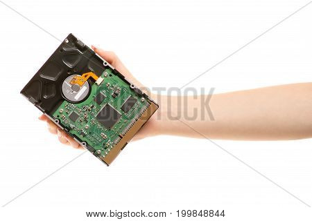 Hard drive in female hands on white background isolation