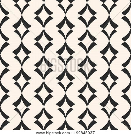 Art deco seamless pattern. Stylish vector geometric ornamental texture. Elegant monochrome abstract background with curved shapes, rhombuses. Design pattern, textile pattern, covers pattern, rhombus pattern, diamonds pattern, fabric pattern.