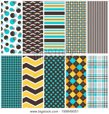 10 seamless vector background patterns in teal and brown