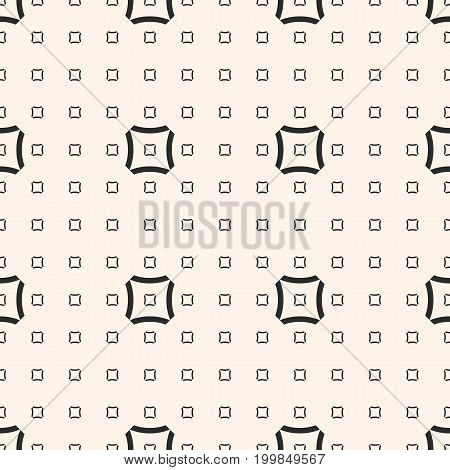 Squares pattern with small outline concave squares. Vector minimalist geometrical texture. Abstract repeat monochrome background. Simple design for decor, prints, textile, digital, web.