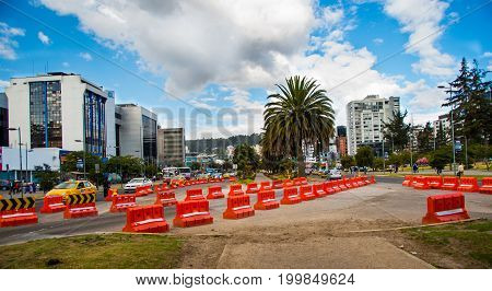Quito, Pichincha Ecuador - August 10 2017: View of the Naciones Unidas avenue north part of the city of Quito with new buildings in the background.