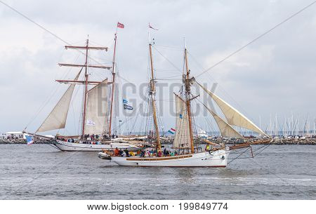 WARNEMUENDE / GERMANY - AUGUST 12 2017: sailing ships at public event hanse sail in warnemuende germany.