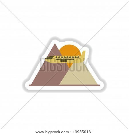 paper sticker on white background airplane mountains