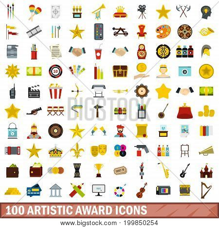 100 artistic award icons set in flat style for any design vector illustration
