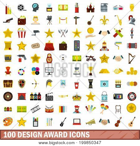 100 design award icons set in flat style for any design vector illustration