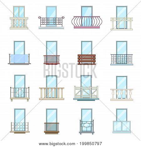 Balcony window forms icons set. Cartoon illustration of 16 balcony window forms icons set vector icons for web