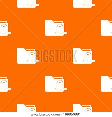 Computer worm pattern repeat seamless in orange color for any design. Vector geometric illustration