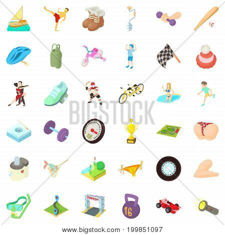 Activity icons set. Cartoon style of 36 activity vector icons for web isolated on white background