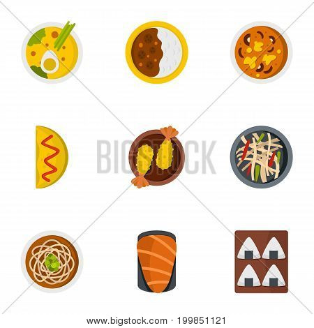 Food icons set. Flat set of 9 food vector icons for web isolated on white background